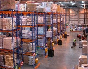 The interior of a large distribution center